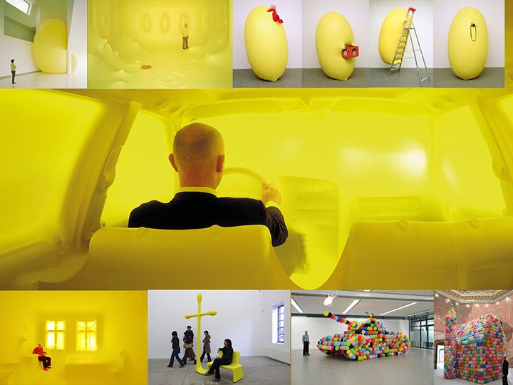 Hans Hemmert yellow balloon sculpture collage