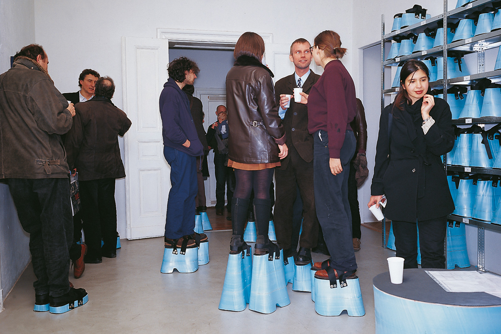 installation with plateau-shoes to become 2 meter tall, galerie Gebauer berlin