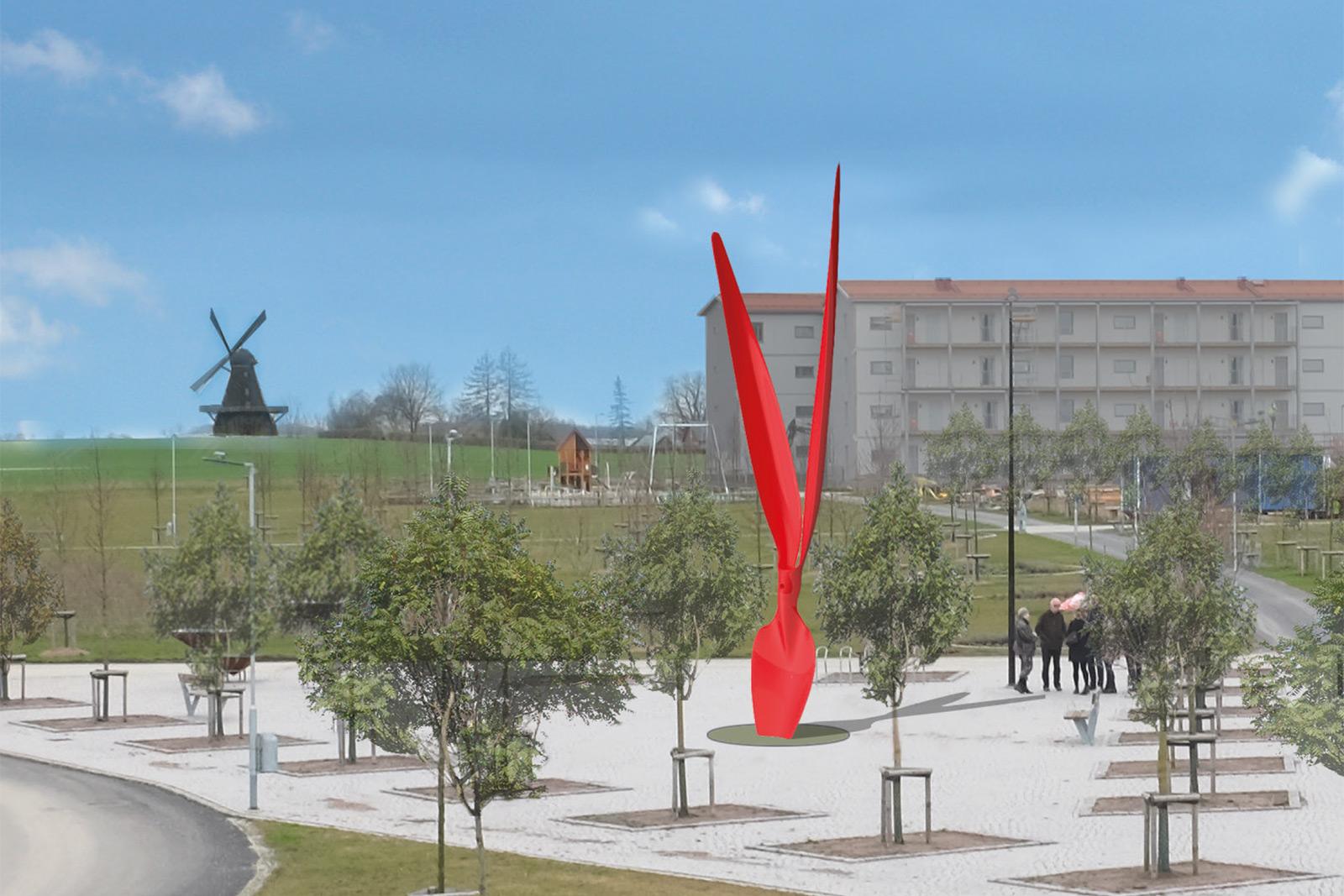 spatenstich-wohngebiet-hybride skulptur